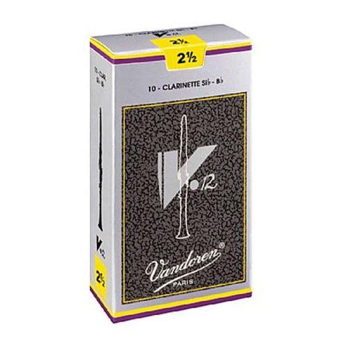 """Palheta 2.5 """"V12 - Vandoren"""", Clarinete Bb, caixa com 10 palhetas."""