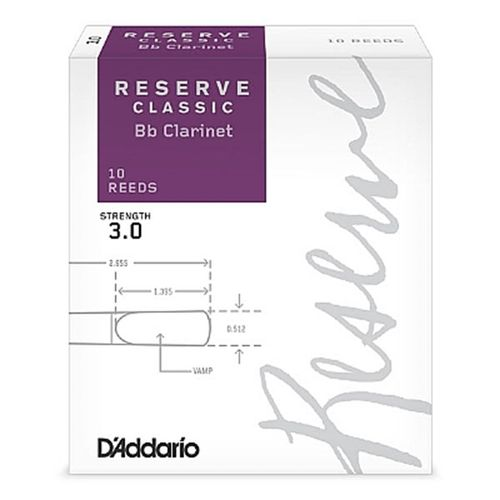 "Palheta 3.0  ""Reserve Classic - D'Addario"", Clarinete Bb, caixa c/10 un."