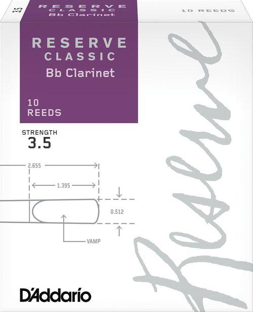 "Palheta 3.5  ""Reserve Classic- D'Addario"", Clarinete Bb, caixa c/10 un."