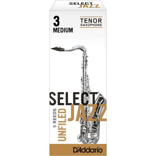 "Palheta 3 Medium ""Select Jazz Unfiled - D'Addario"", Sax Tenor, unid."