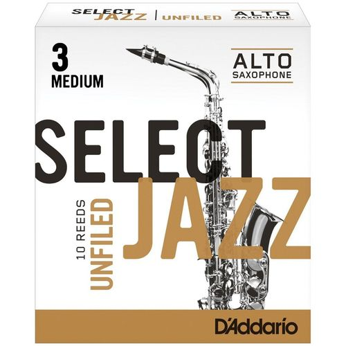 "Palheta 3 Medium, ""Select Jazz Unfiled - D'Addario"", Sax Alto, unid."
