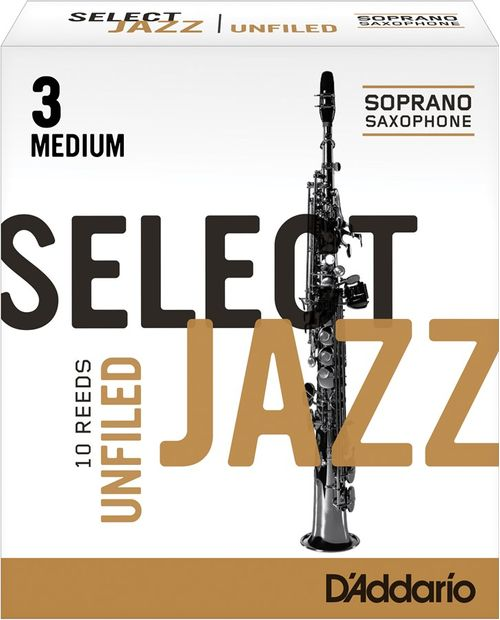 "Palheta 3 Medium ""Select Jazz Unfiled - D'Addario"", Sax Soprano, unid."