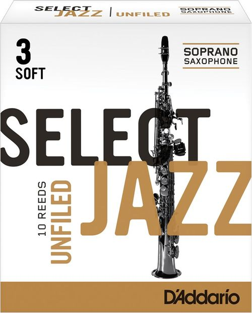 "Palheta 3 Soft ""Select Jazz Unfiled - D'Addario"", Sax Soprano, cx c/10 unid"