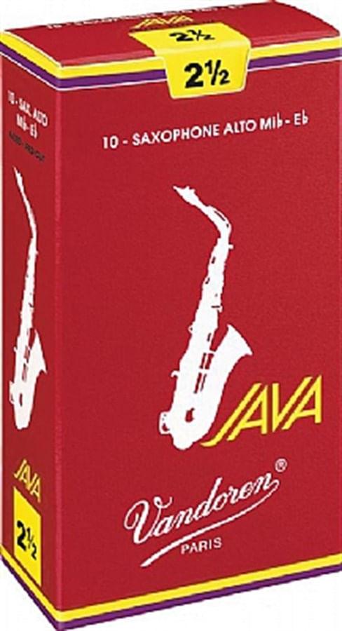 "Palheta 2.5 ""Java Red Cut - Vandoren"", Sax Alto, caixa c/ 10"