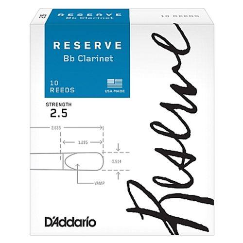 "Palheta 2.5  ""Reserve - D'Addario"", Clarinete Bb, caixa c/10 un."