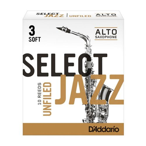 "Palheta 3 Soft, ""Select Jazz Unfiled - D'Addario"", Sax Alto, unid."