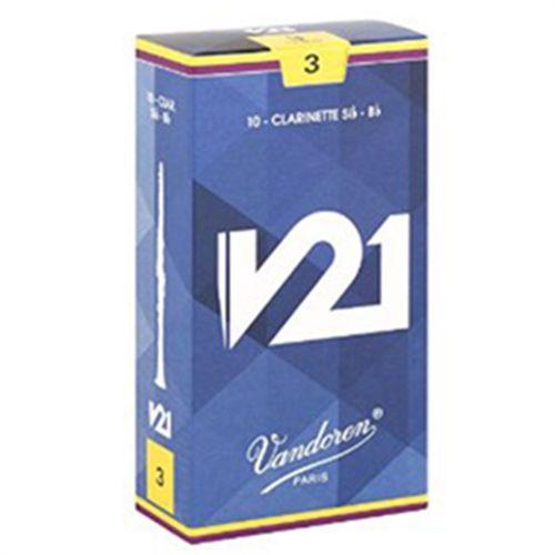 """Palheta 3.0 """"V21 - Vandoren"""", Clarinete Bb, caixa com 10 palhetas"""