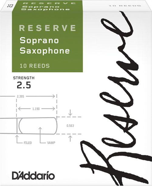 "Palheta 2.5 ""Reserve - D'Addario"", Sax Soprano, caixa c/10 un."