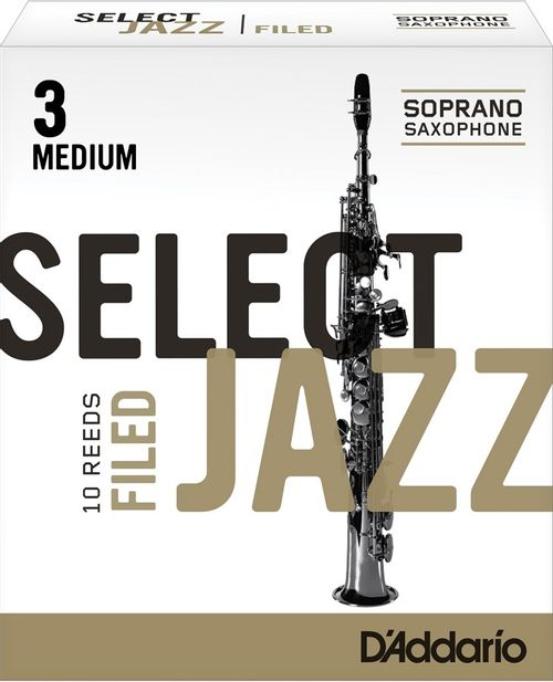 "Palheta 3 Medium ""Select Jazz Filed - D'Addario"", Sax Soprano, unid."