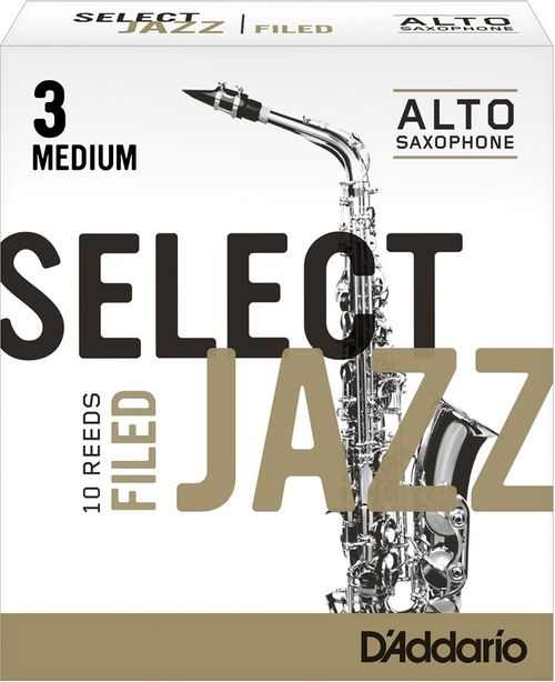 "Palheta 3 Medium ""Select Jazz Filed - D'Addario"", Sax Alto, cx c/10"