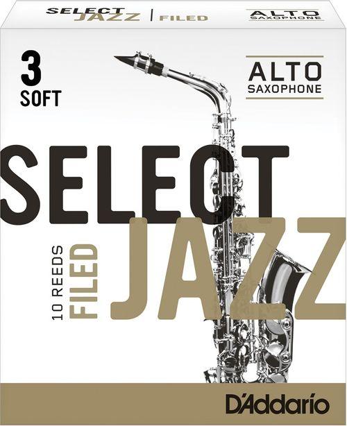 "Palheta 3 Soft ""Select Jazz Filed - D'Addario"", Sax Alto, unid."