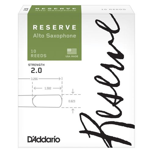 "Palheta 2.0 ""Reserve - D'Addario"", Sax Alto, caixa c/ 10un."
