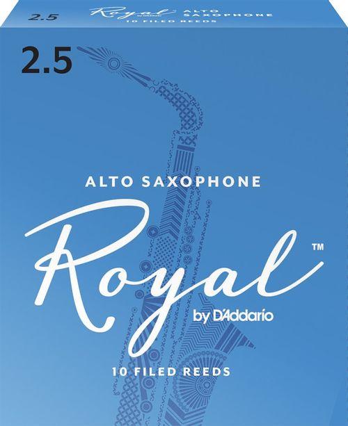 """Palheta 2.5 """"Royal - D'Addario"""", Sax Alto, caixa c/10 un."""