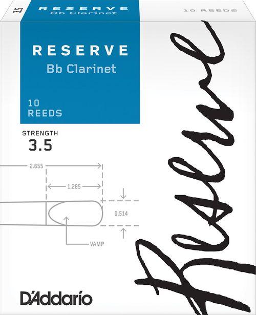 "Palheta 3.5  ""Reserve - D'Addario"", Clarinete Bb, caixa c/10 un."