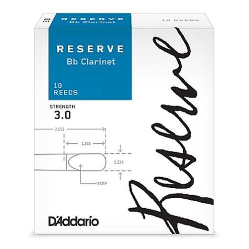"Palheta 3.0  ""Reserve - D'Addario"", Clarinete Bb, caixa c/10 un."