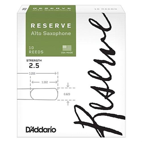 "Palheta 2.5 ""Reserve - D'Addario"", Sax Alto, caixa c/ 10un."