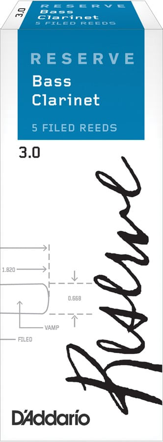 "Palheta 3.0 ""Reserve - D'Addario"", Clarone Baixo, caixa c/5"