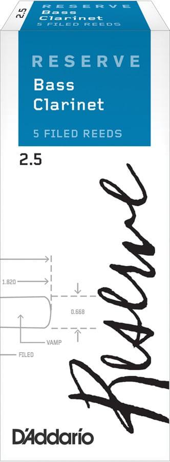"Palheta 2.5 ""Reserve - D'Addario"", Clarone Baixo, caixa c/5"