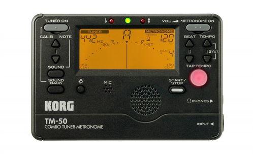 Afinador Cromático e Metrônomo Korg, TM50, preto