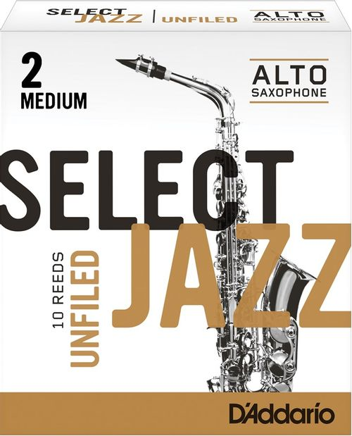 "Palheta 2 Medium, ""Select Jazz Unfiled - D'Addario"", Sax Alto, cx c/10"