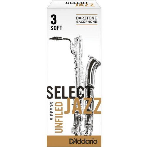 "Palheta 3 Soft ""Select Jazz Unfiled - D'Addario"", Sax Barítono, unid."