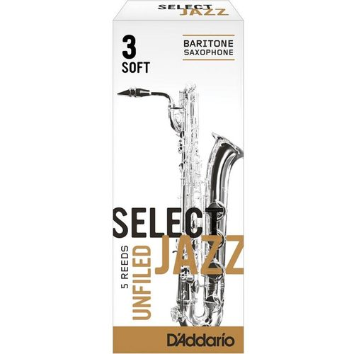"Palheta 3 Soft ""Select Jazz Unfiled - D'Addario"", Sax Barítono, unid."