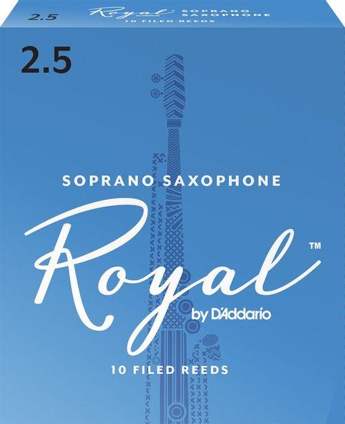"""Palheta 2.5 """"Royal - D'Addario"""", Sax Soprano, cx c/10 unid."""