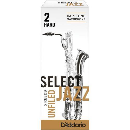 "Palheta 2 Hard ""Select Jazz Unfiled - D'Addario"", Sax Barítono, unid."