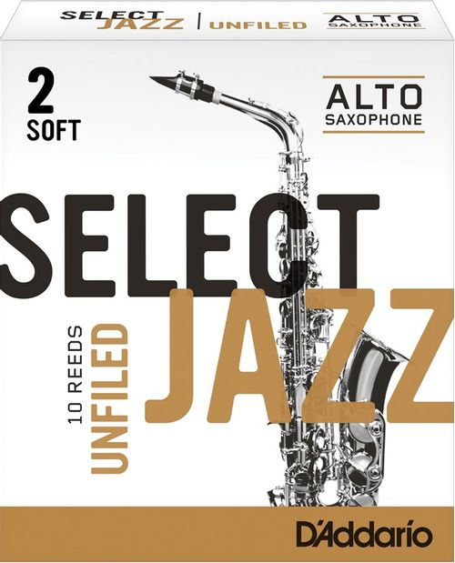 "Palheta 2 Soft, ""Select Jazz Unfiled - D'Addario"", Sax Alto, cx c/ 10 unid."