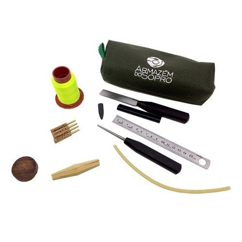 Kit p/fazer palheta americana de Oboé, com faca chanfro duplo, cana no molde Lucarelli e tubo 47mm