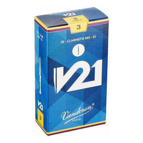 """Palheta 3.0 """"V21 - Vandoren"""", Clarinete Requinta Mib, caixa com 10 unds."""