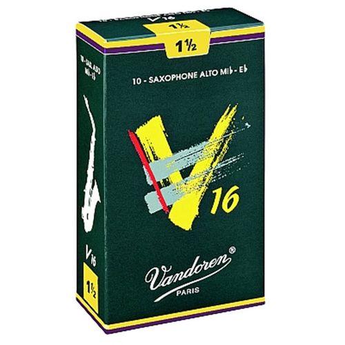"""Palheta 1.5 """"V16 - Vandoren"""", Sax Alto, caixa com 10 palhetas."""