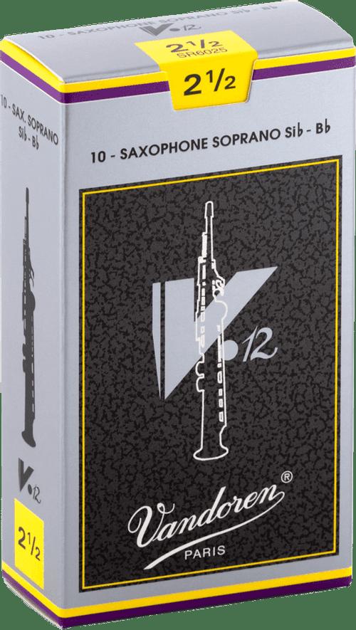 """Palheta 2.5 """"V12  - Vandoren"""", Sax Soprano, caixa com 10 palhetas"""