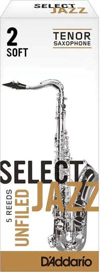 "Palheta 2 Soft, ""Select Jazz Unfiled - D'Addario"", Sax tenor, cx c/05 unid."