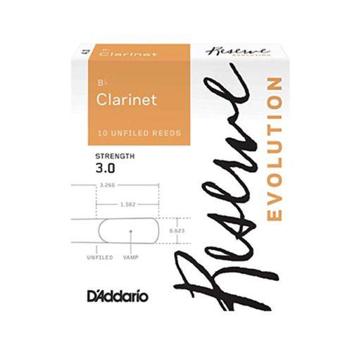 "Palheta 3.0  ""Reserve"" Evolution - D'Addario"", Clarinete Bb, caixa c/10 un."