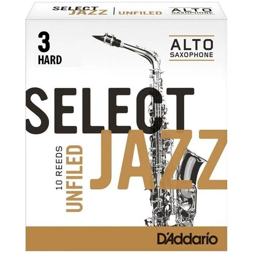"Palheta 3 Hard, ""Select Jazz Unfiled - D'Addario"", Sax Alto, cx c/10"