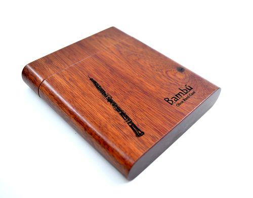 """Porta-palhetas para Oboé, em madeira vermelha, """"Bambú"""" para 8 palhetas, unid."""