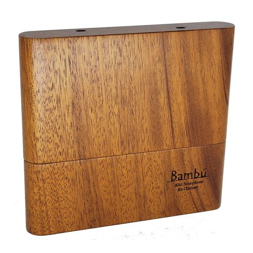 """Porta-palhetas para Clarinete / Sax Alto / Sax Soprano, em madeira canjerana, """"Bambú"""" para 10 palhetas unid."""