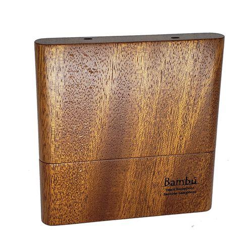 """Porta-palhetas para Sax Tenor / Sax Barítono / Clarone Baixo, em madeira canjerana, """"Bambú"""" para 08 palhetas unid."""