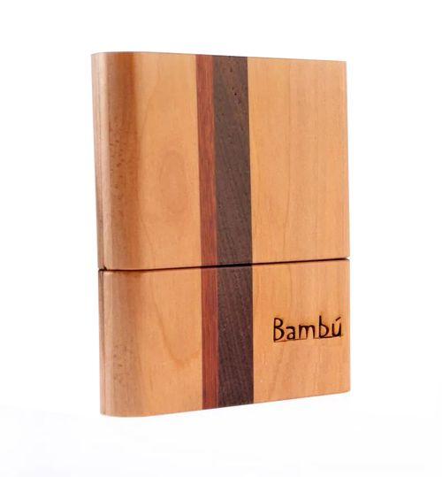 """Porta-palhetas para Sax Tenor / Sax Barítono / Clarone Baixo, em madeira com marchetaria, """"Bambú"""" para 08 palhetas unid."""