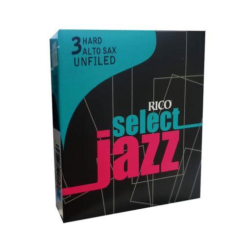 "Palheta 3 Hard, ""Select Jazz Unfiled - ""RICO"", Sax Alto, unid."