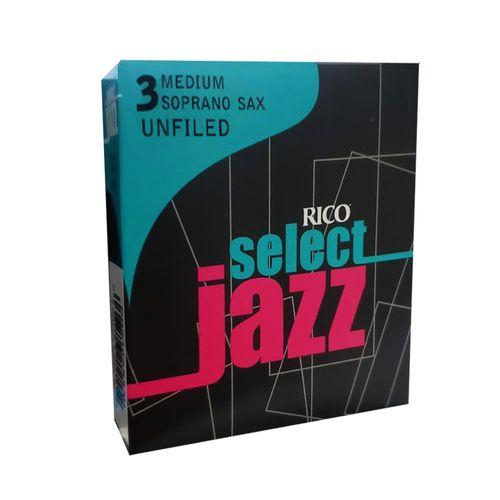 "Palheta 3 Medium ""Select Jazz Unfiled - ""RICO"", Sax Soprano, unid."